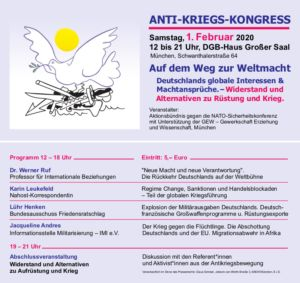 Programm Anti-Kriegs-Kongress 1.2.2020